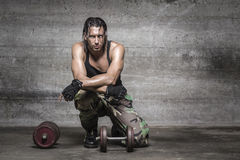Portrait of sweaty athlete. Resting from weight training Royalty Free Stock Photo