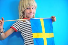 Portrait of sweden boy at the wall stock images