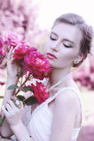 Portrait of a sweet, attractive, gentle, romantic, sensual girl royalty free stock photography