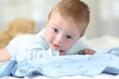 Portrait of a sweet baby looking at you. On a blue blanket in a bed Stock Images