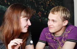 Portrait of sweet couple. Gazing at each other Stock Photography