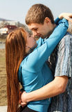 A portrait of a sweet couple in love. Outdoor Royalty Free Stock Photos