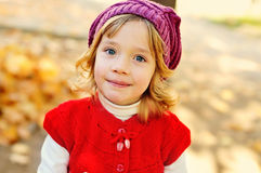 Sweet girl in fall time Stock Photo