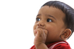 Portrait of sweet indian baby, looking left Royalty Free Stock Photos