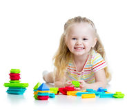 Portrait of sweet little girl with toy blocks Royalty Free Stock Photos