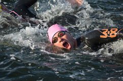 Portrait of a swimmer at a triathlon Stock Photos