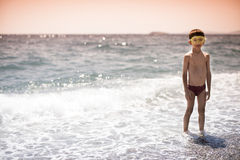 Portrait of a swimming child stock photos