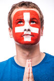 Portrait of swiss football fan pray Switzerland national team Royalty Free Stock Photo