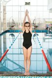 Portrait of Talented Little Swimmer Royalty Free Stock Image