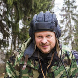 Portrait of a tankman. In tank helmet ang camouflage stock photos