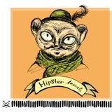 Portrait of tarsier monkey Hipster on background. Hand Drawn Fashion Portrait of tarsier monkey Hipster on background royalty free illustration