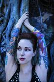 Portrait of tattooed woman. stock photography