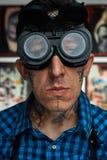 Portrait of tattooist in welder glasses Stock Images