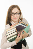 Portrait of a teacher with books and notebooks Royalty Free Stock Image