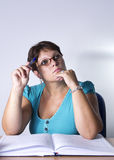 Portrait of a teacher in a classroom. Close up Royalty Free Stock Photos