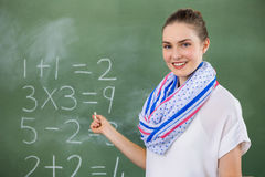 Portrait of teacher teaching mathematics in classroom Stock Photos