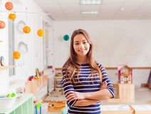 Portrait of teacher in a Waldorf kindergarten Royalty Free Stock Image