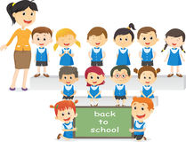 Portrait of teachers with their students. back to school concept vector illustration