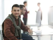 Portrait of the team leader in the office. Photo with copy space Royalty Free Stock Photos