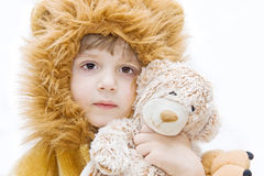 Portrait with teddy bear. Royalty Free Stock Photography