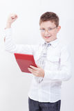 Portrait of teen boy with calculator on white Royalty Free Stock Photo