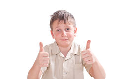 Portrait of teen boy showing both hands perfectly Royalty Free Stock Photos