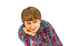 Portrait of a teen boy who wears a checked shirt Stock Photos