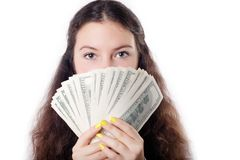 Portrait of a teen brunette girl with money Royalty Free Stock Image