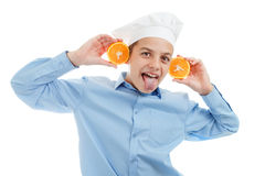 Portrait of teen Cook. On white background. royalty free stock photography