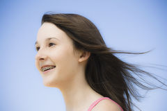 Portrait of Teen Girl. Portrait of Smiling Teen Girl with Braces Outdoors Stock Photography