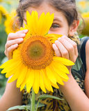 Portrait Teen Girl And Sunflower Stock Images