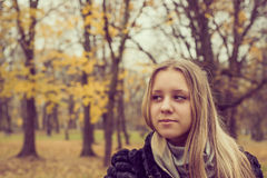 Portrait of teen girl in the autumn park Royalty Free Stock Image