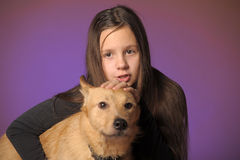 Portrait teen girl with a dog Royalty Free Stock Image