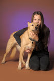 Portrait teen girl with a dog Royalty Free Stock Photo