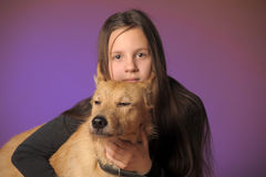Portrait teen girl with a dog Royalty Free Stock Photos