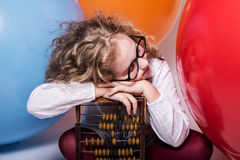 Portrait of teen girl dreaming in glasses with eyes closed again Royalty Free Stock Photos