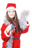 Portrait of a teen girl dressed as Santa Stock Photo
