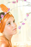 Portrait of  teen girl in east suit Royalty Free Stock Images