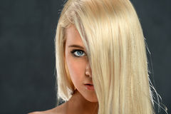 Portrait of Teen Girl With Hair Over Face Royalty Free Stock Images