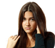 Portrait of teen girl in hard depression cried lonely Royalty Free Stock Photo