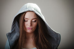 Portrait of teen girl in hooded sweatshirt Royalty Free Stock Photos
