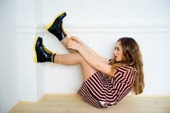 Teen girl model. A portrait of a teen girl model in a stdio Stock Photo
