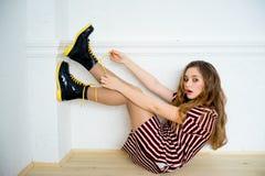 Teen girl model. A portrait of a teen girl model in a stdio Stock Photos