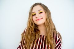 Teen girl model. A portrait of a teen girl model in a stdio Royalty Free Stock Photos