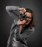 Portrait of the teen girl with old camera Royalty Free Stock Photo