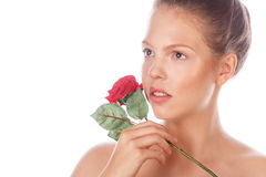 Portrait of a teen girl with a rose. Royalty Free Stock Image