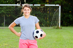 Portrait of teen girl soccer player Royalty Free Stock Image