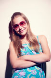 Portrait of a teen girl with sunglasses Royalty Free Stock Images