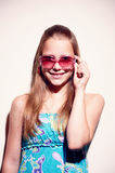 Portrait of a teen girl with sunglasses Stock Image