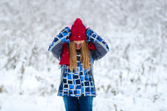 Portrait teen girl in winter forest Royalty Free Stock Photography